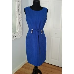 Ellen Tracy Belted Midi Dress Pockets Blue Size 6